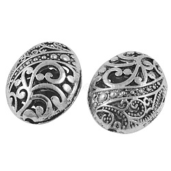 Tibetan Style Filigree Beads, Cadmium Free & Nickel Free & Lead Free, Oval, Antique Silver, Size: about 22mm long, 18mm wide, 11mm thick, hole: 2mm(X-TIBEB-A12190-FF)