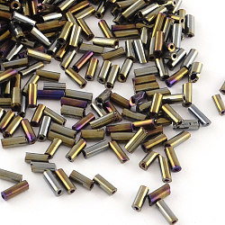 Plated Glass Bugle Beads, Iris, Multi-color Plated, 4~4.5x2mm, Hole: 1mm; about 450g/bag, 14000pcs/bag(SEED-R011-702)
