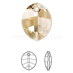 pendentif en strass cristal autrichien, 6734, passions de cristal, facettes, pur feuille, 001 gsha_cristal d'ombre d'or, 14x10x5 mm, trou: 1 mm(X-6734-14mm-001GSHA(U))