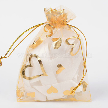 Heart Printed Organza Bags, Gift Bags, Rectangle, Goldenrod, 12x10cm(X-OP-R022-10x12-04)
