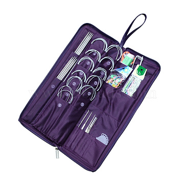 Stainless Steel Knitting Tool Sets, Mixed Color, 385x135x42mm(TOOL-R049-02)