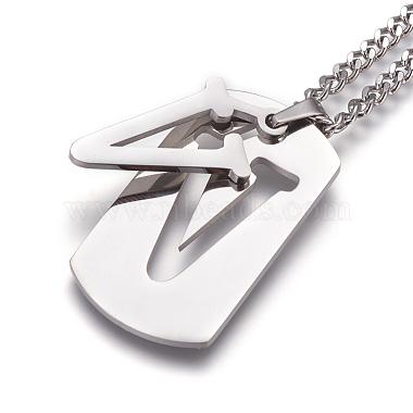 304 Stainless Steel Split Initial Pendant Necklaces(NJEW-L152-03V)-2