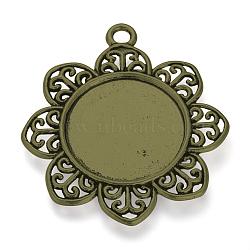 Supports de cabochon en alliage de style tibétain, fleur, Sans cadmium & sans nickel & sans plomb, bronze antique, plateau: 25 mm; 49x44x2.5 mm, Trou: 3.5mm(X-TIBE-T003-03AB-NR)