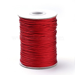 Braided Korean Waxed Polyester Cords, Red, 0.8mm, about 87.48 yards(80m)/roll(YC-T002-0.8mm-133)