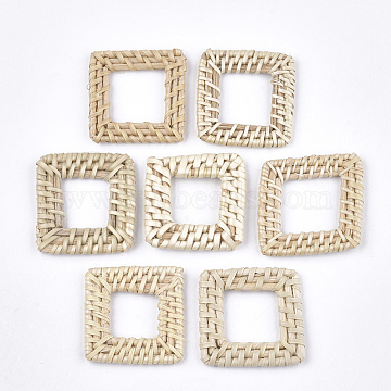 Handmade Reed Cane/Rattan Woven Linking Rings, For Making Straw Earrings and Necklaces, Square, AntiqueWhite, 36~42x36~42x4~5mm, Inner Measure: 18~21x18~21mm(X-WOVE-T006-037A)