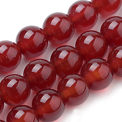 Natural Carnelian Beads Strands, Dyed, Round, 6mm, Hole: 1mm; about 63pcs/strand, 15inches