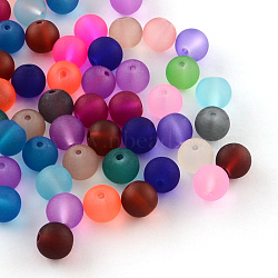 Transparent Frosted Glass Beads, Round, Mixed Color, 6~7x6mm, Hole: 1mm, about 100pcs/bag(X-FGLA-R001-6mm-M)
