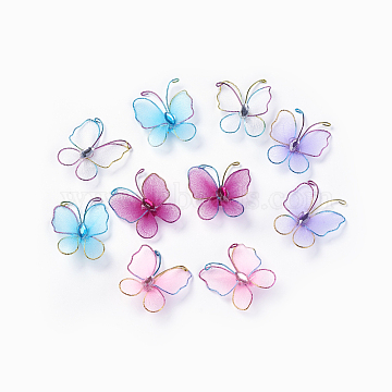 Cloth Decorations, with Glass Rhinestone and Iron Findings, Butterfly, Mixed Color, 30~38x29~32x8~9mm(AJEW-WH0064-01)