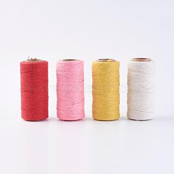 PandaHall Elite Cotton String Threads for Jewelry Making, Macrame Cord, Mixed Color, 1.5mm, about 76.55 yards(70m)/roll, 4rolls/set(OCOR-PH0003-50)