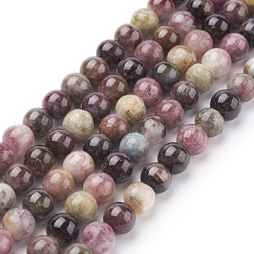 Natural Tourmaline Beads strands, Round, 6mm, Hole: 1mm, 31pcs/strand, 7.5 inches(X-G-C076-6mm-10)