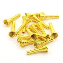 Perles de printemps de fer, Perles de bobine, or, 23~25x10mm, Trou: 2.5~9mm(X-IFIN-E715-G)