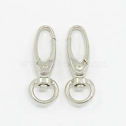 Fer mousqueton pivotant crochets fermoirs, Accessoires de bijoux, platine, 37x13.5mm, Trou: 10x5mm(X-E341-6)