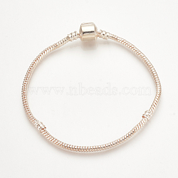 Brass European Style Bracelet Making, with Brass Clasps, Rose Gold, 6-3/4 inches(170mm); 3mm(X-PPJ-Q001-01C)