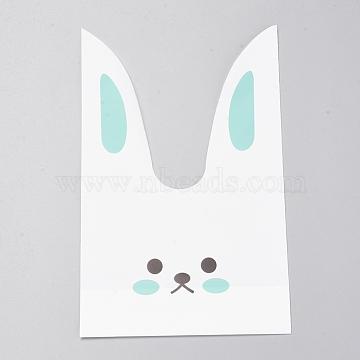 des sacs en plastique, lapin, turquoise, 22x13 cm; à propos de 49~50 pcs / sac(ABAG-WH0002-22)