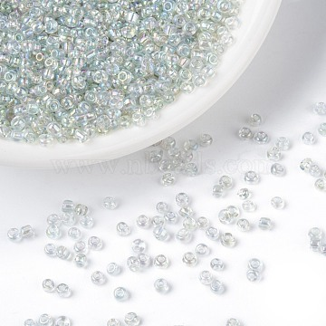 Round Trans. Colors Rainbow Glass Seed Beads, Clear,  Size: about 2mm in diameter, hole:1mm, about 3306pcs/50g(X-SEED-A007-2mm-161)