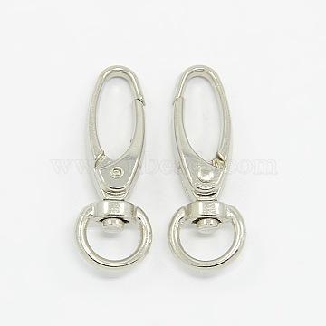 Iron Swivel Snap Hooks Clasps, Jewelry Findings, Platinum, 37x13.5mm, Hole: 10x5mm(X-E341-6)