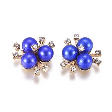 Alloy Cabochons, with Crystal Rhinestone & Acrylic Imitation Pearl, Flower, Light Gold, Blue, 19~20x21~22x10mm(PALLOY-I198-A06)