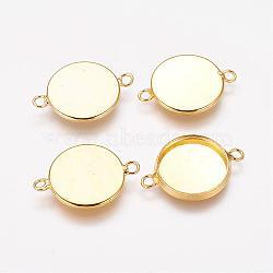плоские параметров соединителя кабошон круглый латунь скошенных, чашки безель с краем, свинца и кадмия, золотой, лоток: 14 мм; 21.5x16x2.5 мм, отверстия: 1.5 mm(X-KK-B537-G)