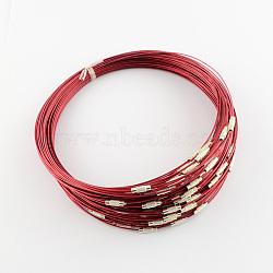 Steel Wire Bracelet Cord DIY Jewelry Making, with Brass Screw Clasp, Indian Red, 225x1mm(X-TWIR-R004-19)