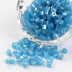 6/0 cube de couleurs transparentes arc-en-trous ronds plaqués perles de rocaille en verre, steelblue, 3.5~4x2.5~3mm, trou: 0.5 mm; environ 5500 pcs / 450 g(SEED-I003-F103)