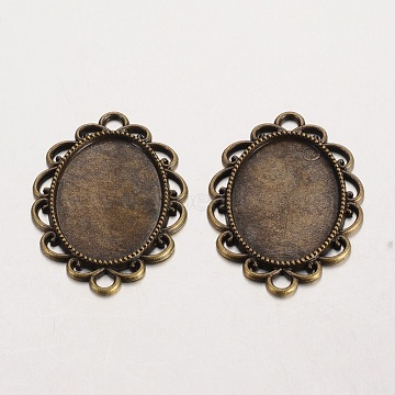 Oval Tibetan Style Alloy Cabochon Connector Settings, Lead Free & Nickel Free & Cadmium Free, Antique Bronze, Tray: 18x25mm, 36x26x2mm, Hole: 3mm(X-PALLOY-K112-15AB-NR)