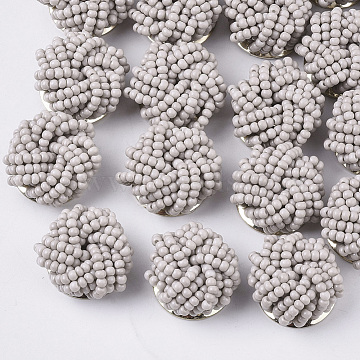 Glass Seed Beads Cabochons, Cluster Beads, with Golden Plated Iron Perforated Disc Settings, Flower, Light Grey, 19~20x10~12mm(X-FIND-S321-05E)