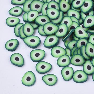 Handmade Polymer Clay Cabochons, Avocado, Light Green, 5~6x4~5x0.3~0.5mm, about 3333pcs/50g(X-CLAY-S091-050)