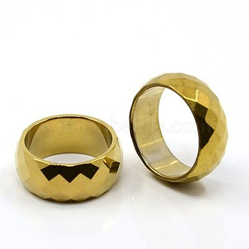 Fashion Magnetic Synthetic Hematite Wide Band Rings, Size 12, Gold, 22mm(X-RJEW-D939-5A)