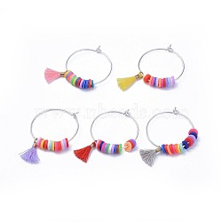 Wine Glass Charms, with Brass Findings, Polymer Clay Heishi Beads and Polycotton(Polyester Cotton) Tassel Charms, Mixed Color, 37mm; Pin: 0.8mm(AJEW-JO00170-M)