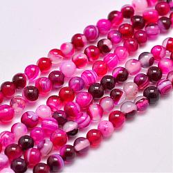 Natural Striped Agate/Banded Agate Bead Strands, Dyed & Heated, Round, Grade A, DeepPink, 4mm, Hole: 0.5mm; about 93pcs/strand, 14.7
