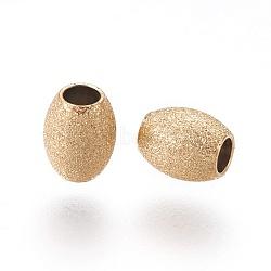 304 perles texturées en acier inoxydable, ovale, or, 5x4mm, Trou: 1.8mm(STAS-E455-06G-4x5)