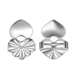 Environmental Electroplate Brass Ear Nuts, Earring Backs, Heart, Silver Color Plated, 14x10mm(EJEW-AA00266-47S)