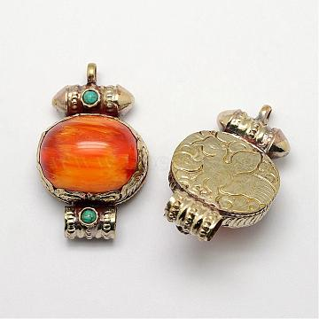 Tibetan Style Pendants, Resin Imitation Beeswax, with Synthetic Turquoise and Antique Golden Brass Findings, Orange, 49x30x18mm, Hole: 5~7mm(PALLOY-F127-D-01)
