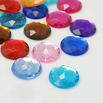 Imitation Taiwan Acrylic Rhinestone Flat Back Cabochons, Faceted, Half Round/Dome, Mixed Color, 12x4mm(X-GACR-D003-12mm-M)