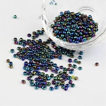 8/0 Electroplated Iris Round Glass Seed Beads, Colorful, 3mm, Hole: 1mm; about 1101pcs/50g(X-SEED-A009-3mm-605)
