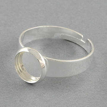 Brass Pad Ring Settings, Adjustable, Flat Round, Silver Color Plated, 18mm, flat round: 10mm; Tray: 8mm(X-MAK-S018-8mm-JN003S)