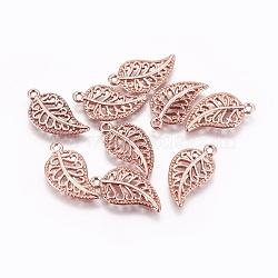 тибетские сплава типа, лист, розовое золото, 18x10.5x1.5 mm, отверстия: 1.2 mm(X-PALLOY-WH0066-09RG)