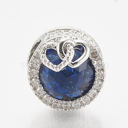 Perles européennes en laiton avec zircone cubique, Perles avec un grand trou   , plat et circulaire avec coeur, platine, bleu, 12x14mm, Trou: 4.5mm(ZIRC-T006-35P-03)
