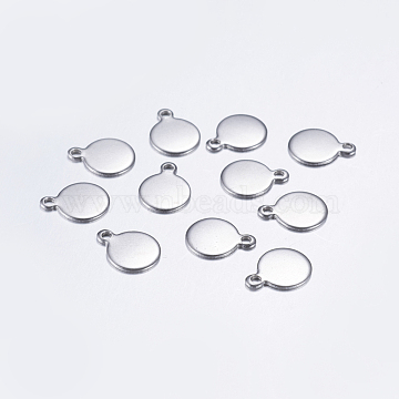 Stainless Steel Color Flat Round Stainless Steel Charms