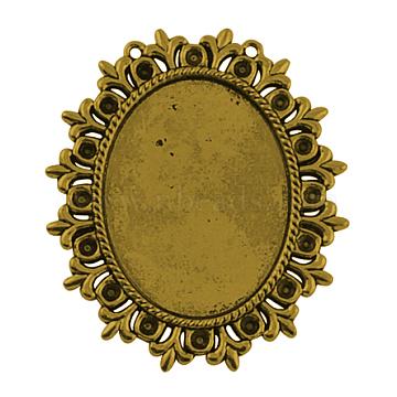 Tibetan Style Cabochon Settings  for Cabochon & Rhinestone, Lead Free & Nickel Free & Cadmium Free, Antique Golden, 56x49x2mm, Hole: 1mm; Tray: 40x30mm & 3mm(X-TIBEP-554-AG-FF)