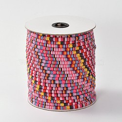 Cloth Rope Ethnic Cords, HotPink, 6mm; about 50yards/roll(150 feet/roll)(OCOR-F003-6mm-14)
