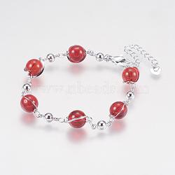 """Verre perles rondes bracelets, avec les accessoires en fer, et fermoirs pince de homard, Plaqué longue durée, rond, platine, rouge, 6-7/8"""" (175 mm)(BJEW-F298-02C)"""