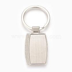 trousseau de paramètres de cabochon en alliage de zinc, avec anneau en fer, rectangle, platine, plateau: 21x37 mm; 79 mm; 48.5x27.5x4 mm; 1 pc / box(KEYC-E028-05P)