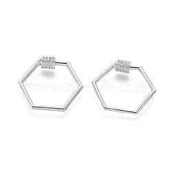 laiton micro pavé zircone cubique vis verrouillage mousqueton porte-clés, charm mousqueton, pour la fabrication de colliers, hexagone, platine, 24x28x2 mm(ZIRC-I031-16P)