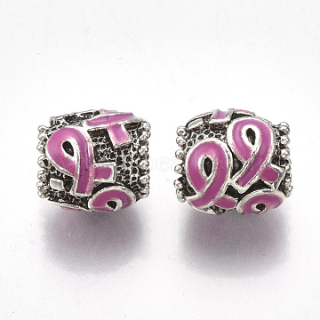 Alloy Enamel European Beads, Large Hole Beads, with Enamel, Drum with Awareness Ribbon, HotPink, 11.5x11mm, Hole: 5~6mm(X-MPDL-R036-18A-1)