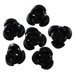 Minuscule aluminium 100 pcs rose noire de fleur séparateurs perles métal pour la fabrication de bijoux de bricolage, 12x7mm, Trou: 1mm(X-AF12MM011Y)