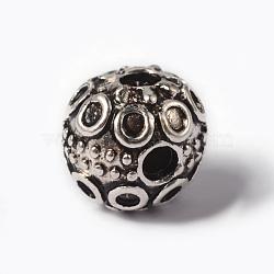 Alliage de style tibétain 3 trou perles gourou, rond, pour la fabrication de bijoux bouddhiste, argent antique, 9x8.5mm, Trou: 2mm(TIBEB-YC65945-AS)