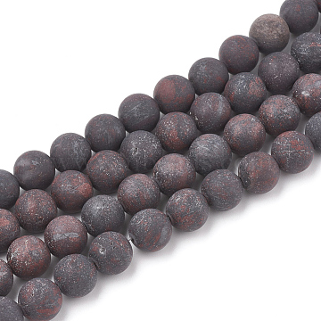 Natural Bloodstone Beads Strands, Heliotrope Stone Beads, Frosted, Round, 12mm, Hole: 1.5mm; about 30pcs/strand, 15.5inches(G-T106-095)