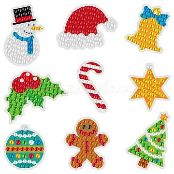 Christmas Theme DIY Diamond Painting Stickers Kits for Kids, with Rhinestones and Diamond Painting Tools, Snowman & Christmas Tree & Decorations, Mixed Color, 23x8x2.5cm(DIY-H123-02)