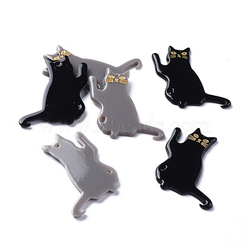 Acrylic Pendants, 3D Printed, Cat Shape, Mixed Color, 39x28x2mm, Hole: 1.5mm(KY-I007-48)